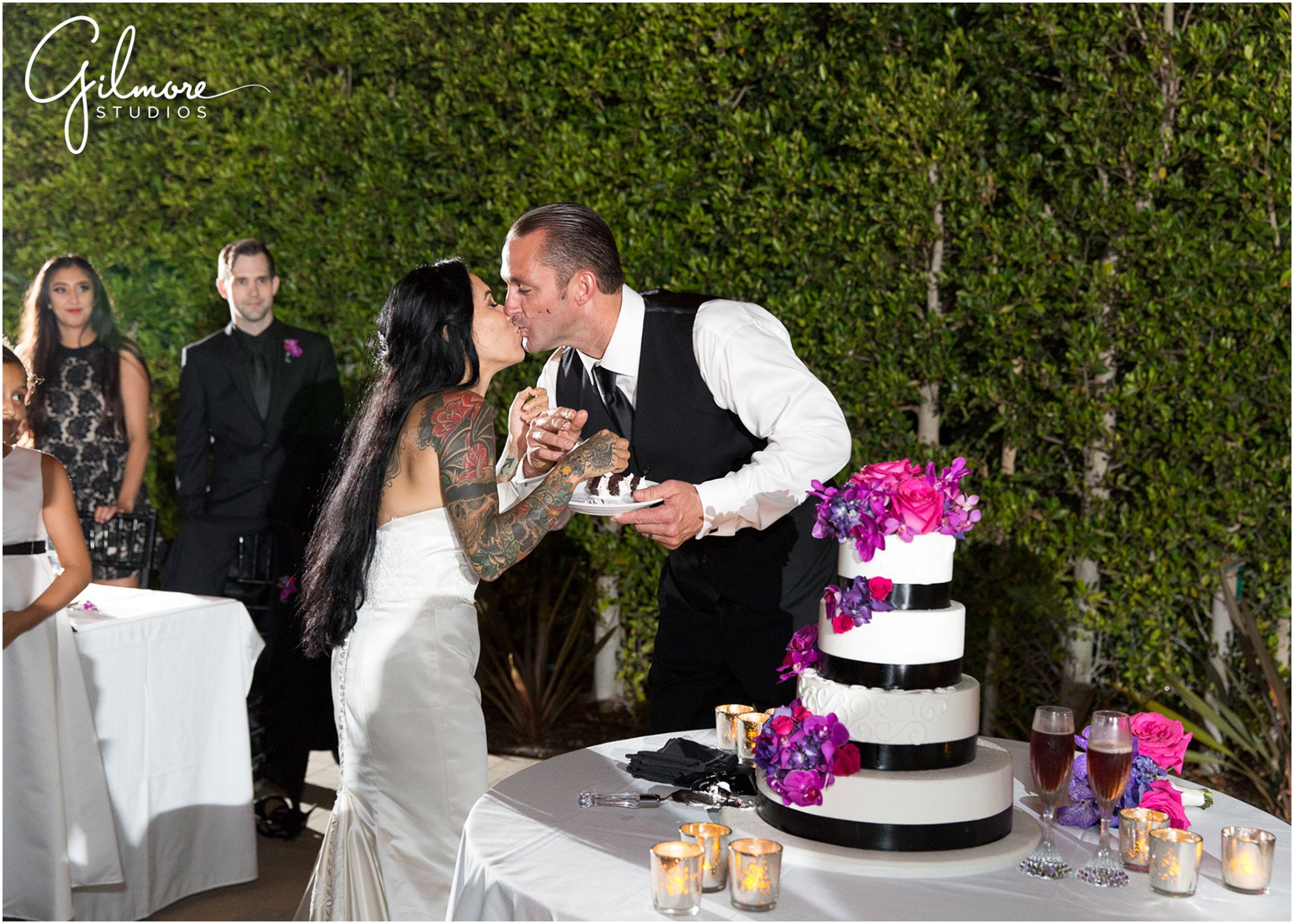Wedding dresses with purple accents  Cut the Cake  tier wedding cake white with purple flowers