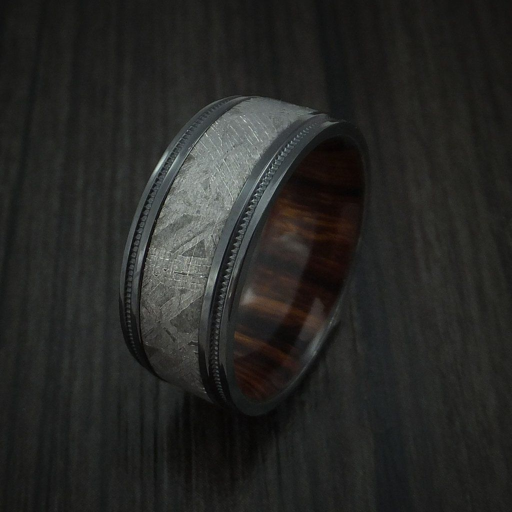 Gibeon Meteorite in Black Zirconium Wedding Band with