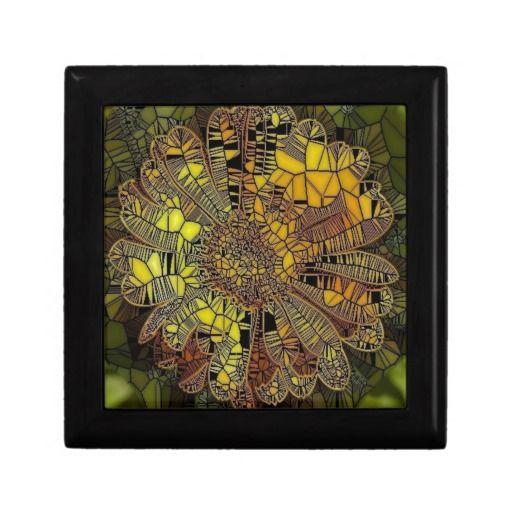 flower like yellow glass mosaic keepsake boxes