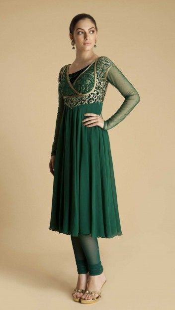 Green georgette anarkali with overlap asymetrical neckline with gold resham embroidery and soft net sleeves by Varun Bahl $1,060