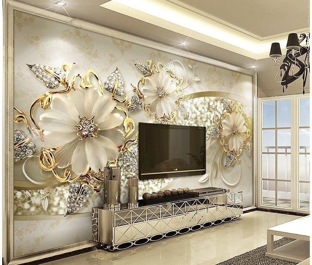 Gold Daisy Jewelry Floral Homedecordecoracion Wallpaper Living Room Wall Wallpaper Room Wallpaper
