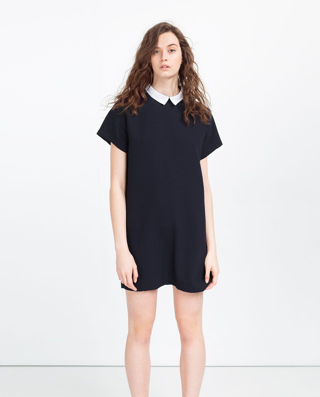 Black t shirt dress zara - Image 1 Of Straight Cut Dress With Collar From Zara