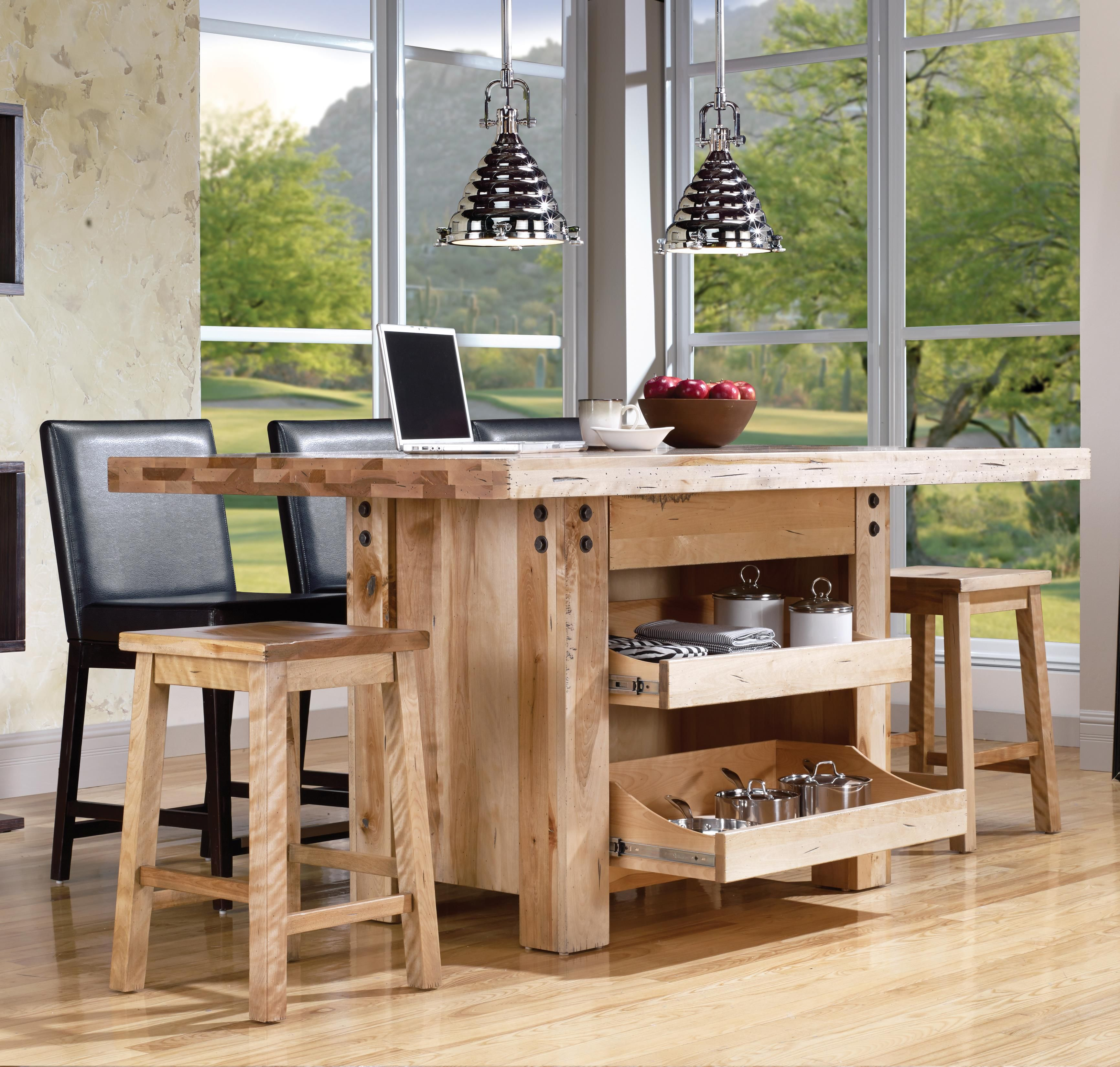 appealing kitchen center island tables | A rustic finish and decorative metal rivets add industrial ...
