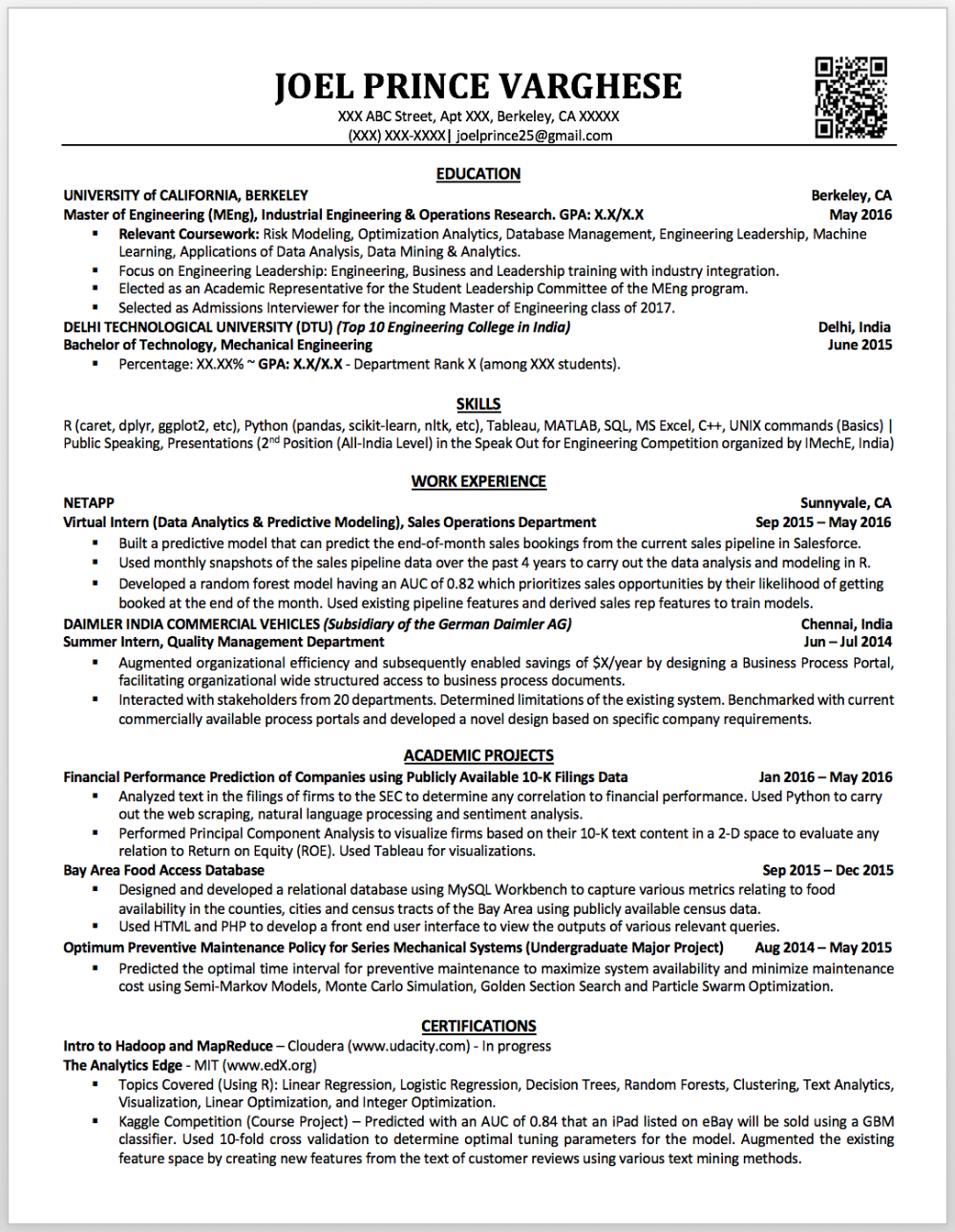 My First Data Science Resume Sample Data Scientist Resume Data Science Data Scientist Sample Resume