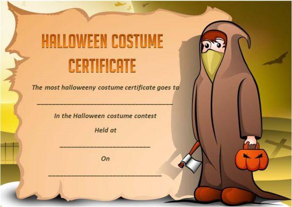 Most Halloween Costume Award Template Halloween Costume