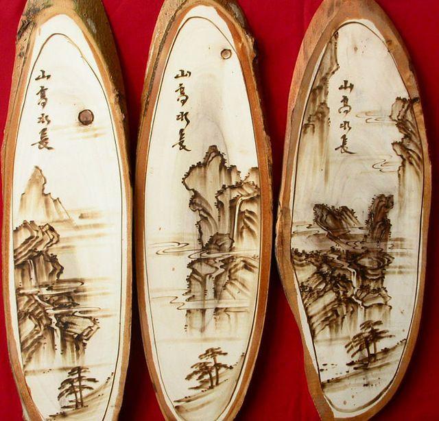 Mão Natural pirogravura Poplar madeira vintage madeira decoração artesanal de…