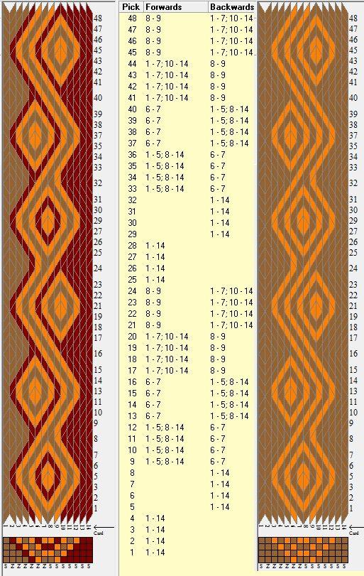 14 tarjetas, 3 / 2 colores, repite cada 24 movimientos // sed_351 diseñado en GTT༺❁
