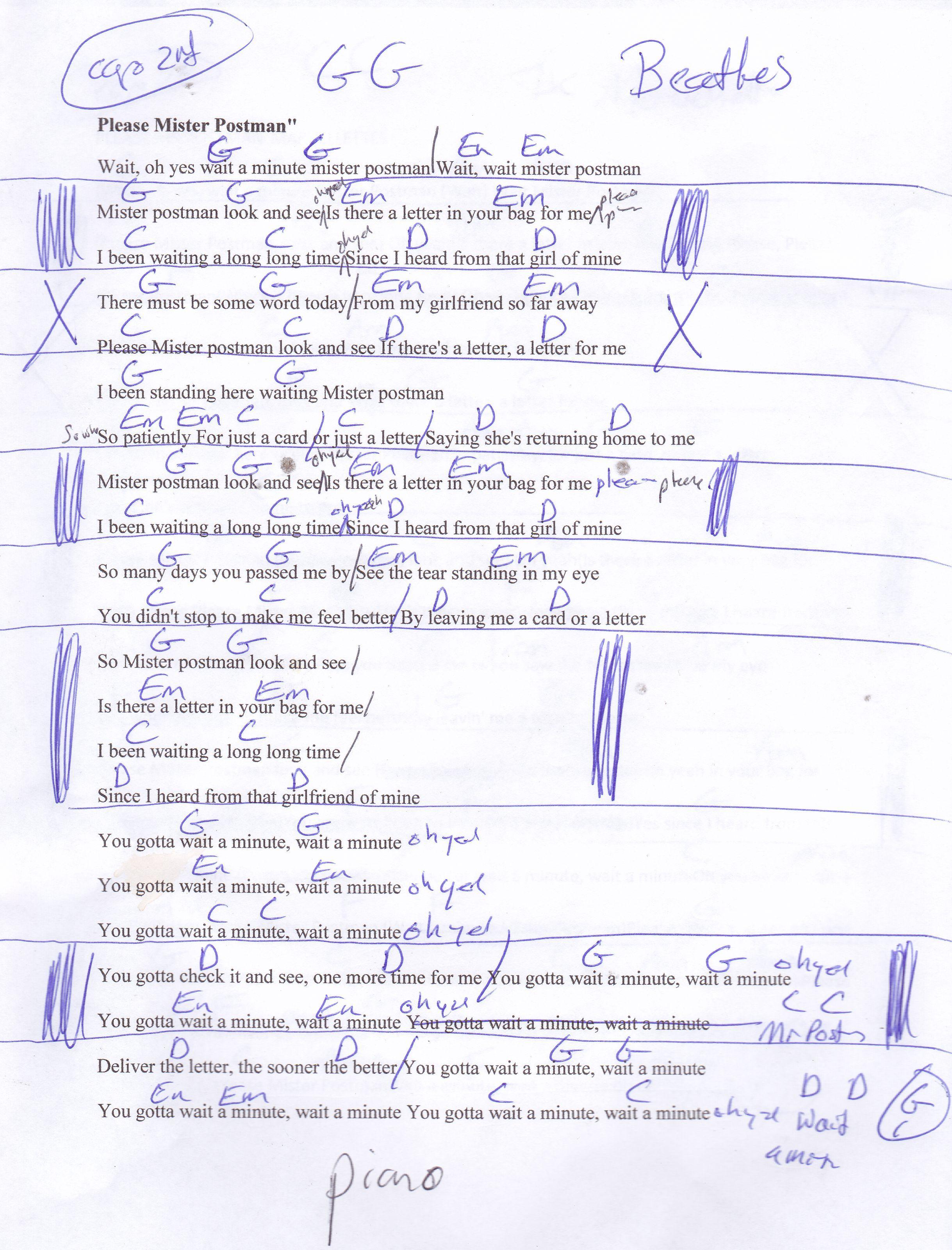 Please Mr Postman Beatles Guitar Chord Chart Capo 2nd Guitar