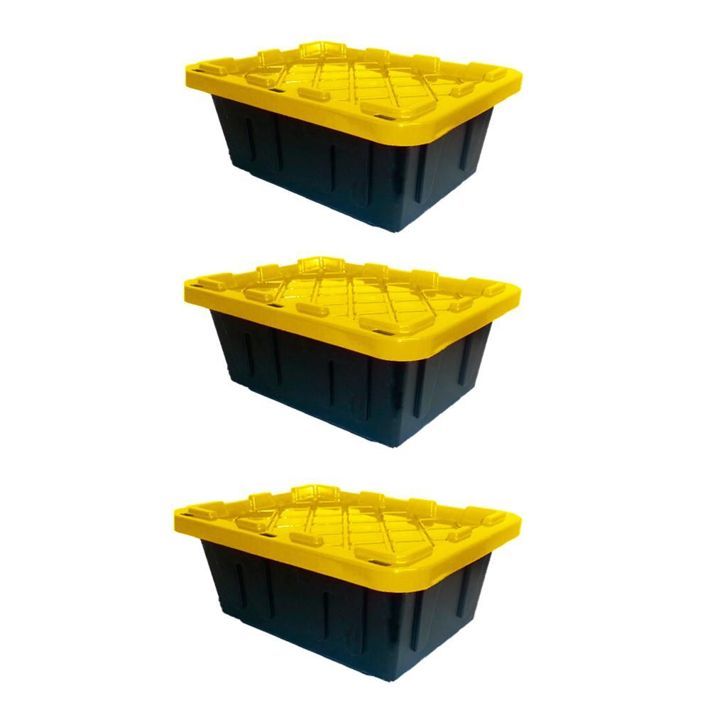 12 Pack Stackable Plastic Storage Extra Thick Bin Yellow Shop Garage Utility