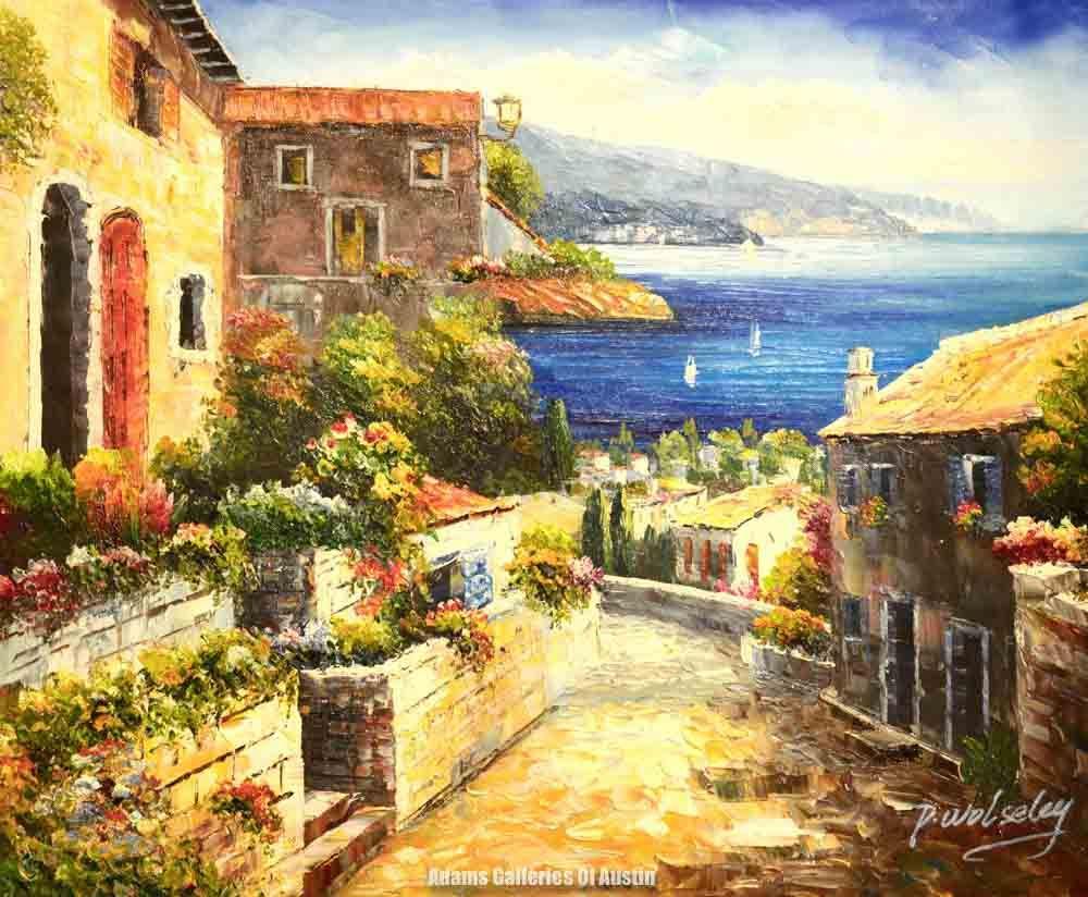 Artist p wolseley title coastal street size 20x24 oil