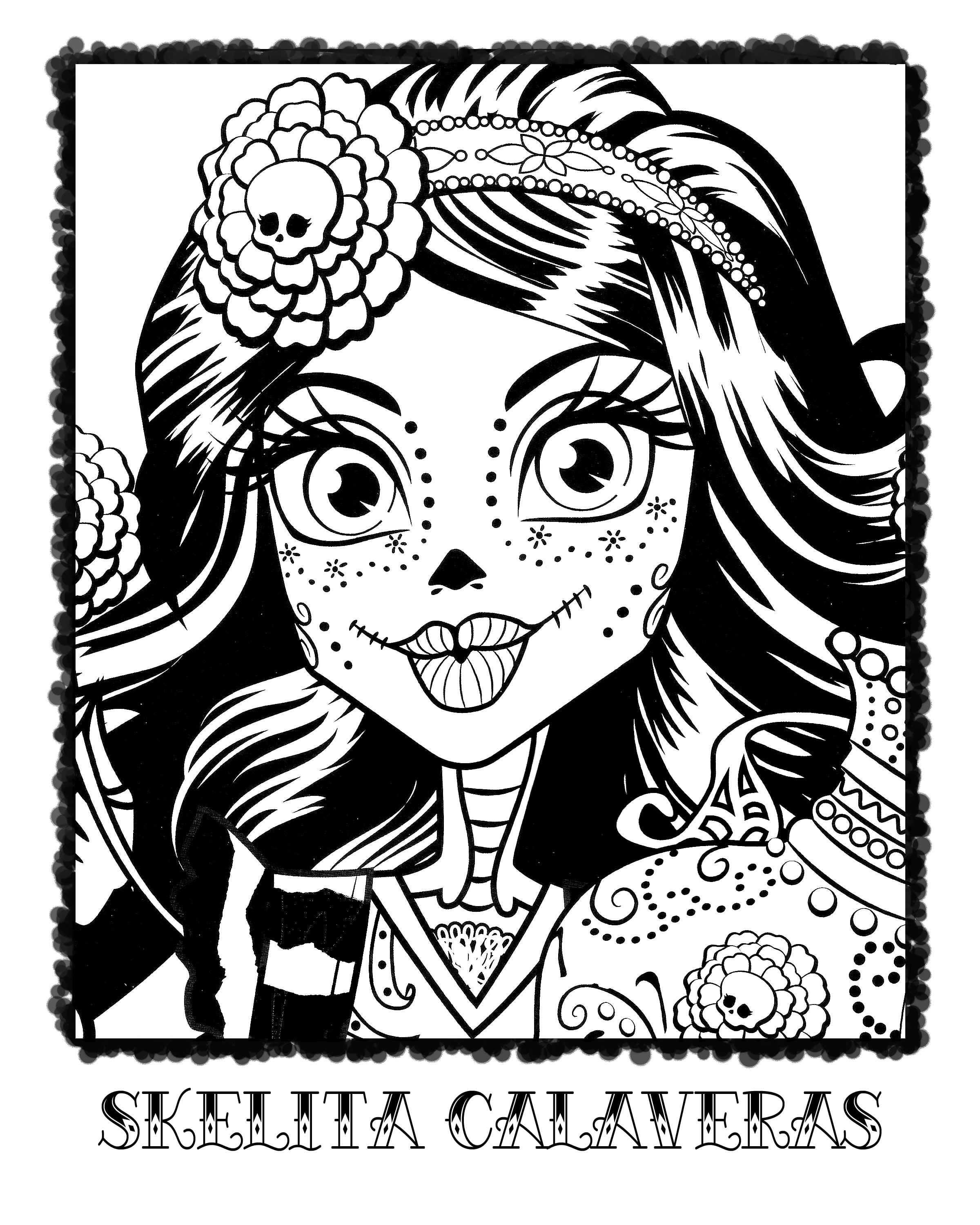 Skelita Calaveras Colouring Page