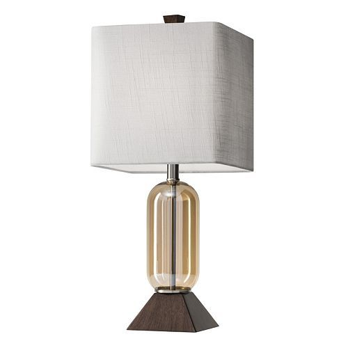 Kohls Table Lamps Classy Adesso Kennedy Wood & Glass Table Lamp  Glass Table Lamps Glass Design Ideas