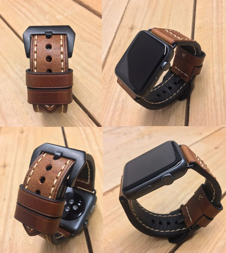 Details Over For Apple Watch Series 5 4 38 40mm 42 44mm Thick Brown Leather Watch Strap Band Apple Watch Leather Apple Watch Men Apple Watch Strap