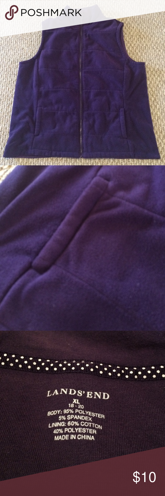 Lands' End Fleece Vest Excellent condition. Deep plum. Lands' End Jackets & Coats Vests