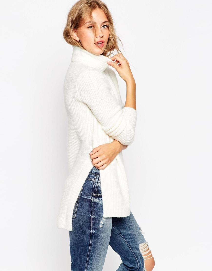 ASOS | ASOS Sweater in Brushed Yarn With High Neck and Side Splits at ASOS