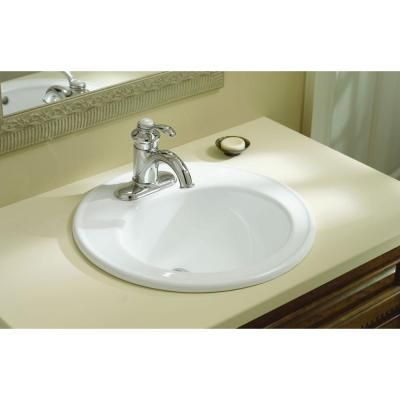 Kohler brookline top mount vitreous china bathroom sink in white with overflow drain sinks for Kohler bathroom sinks home depot