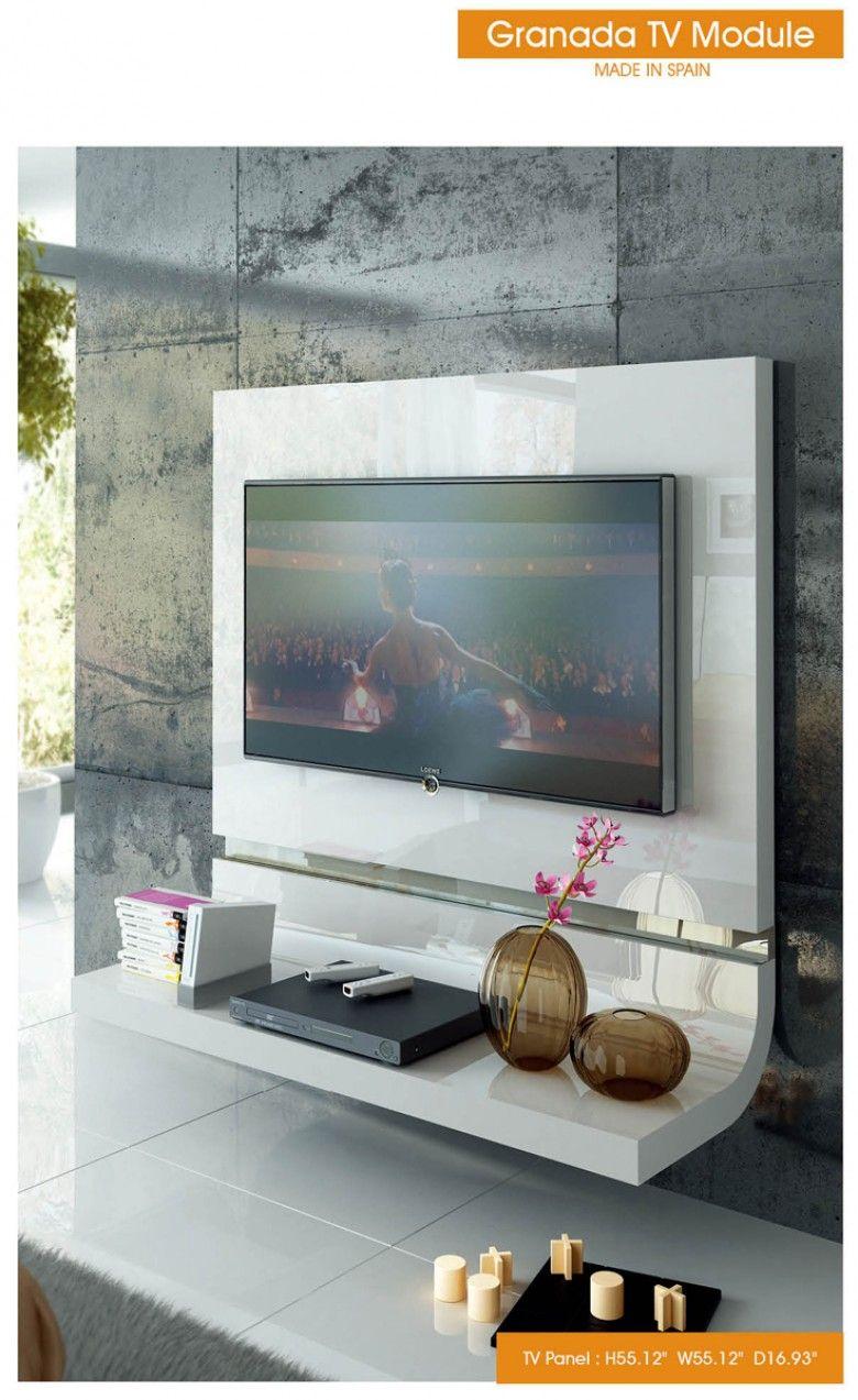 Esf Furniture Granada Tv Panel In White Modern Tv Unit Designs
