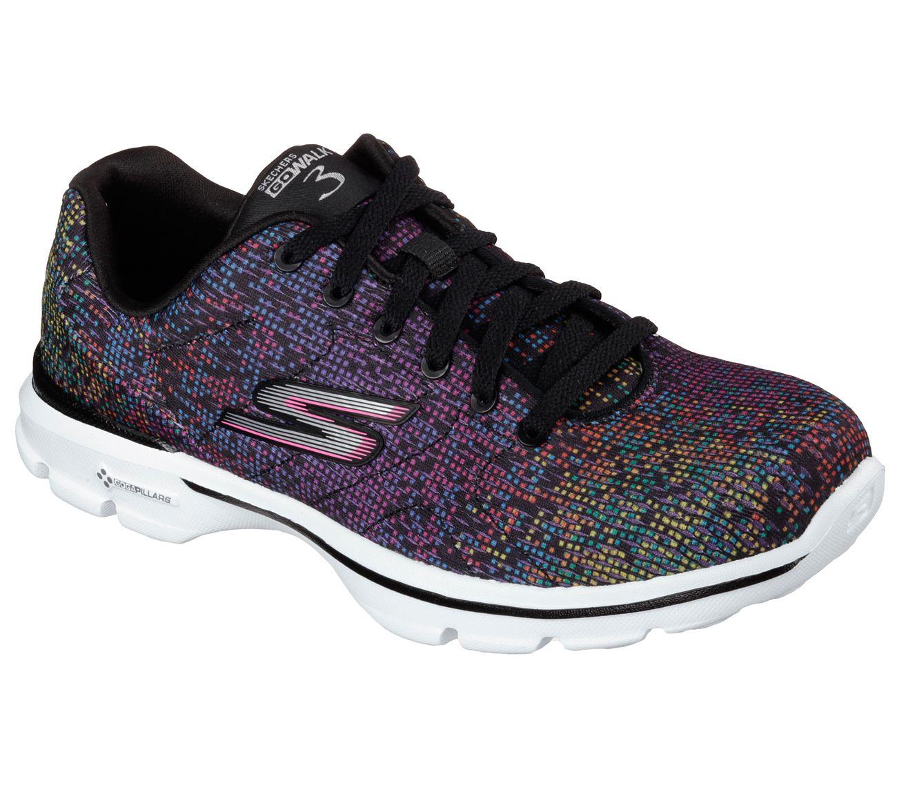 Skechers Womens Go Walk 3 Shoes  Black Multi Print