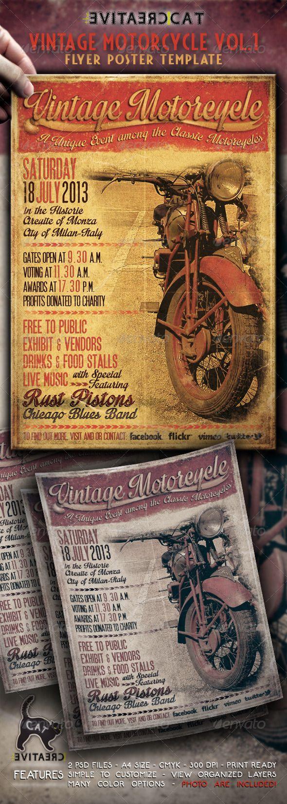 Vintage Motorcycle Flyer Poster Vol 1 Flyer Examples Pinterest