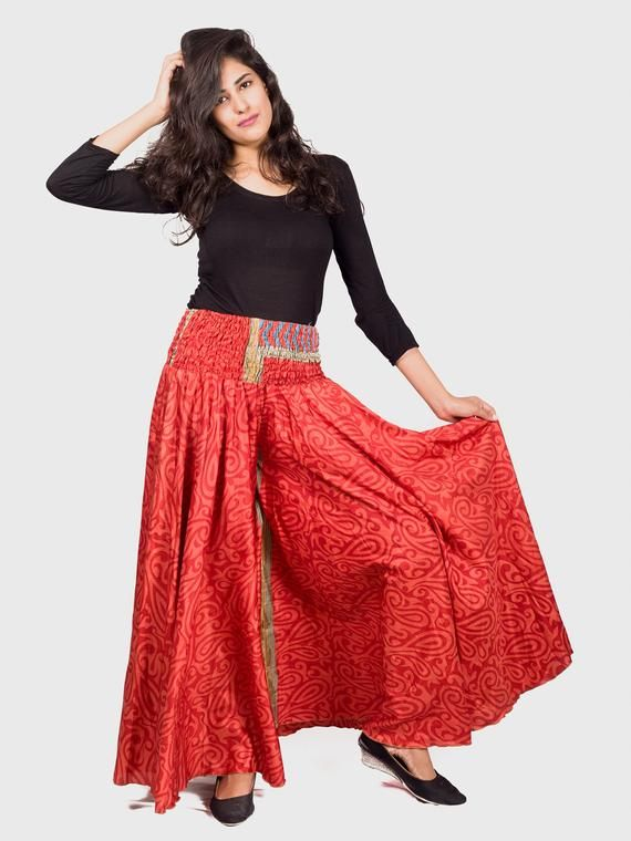 ff309634c4 Indian Fusion Vintage Silk Sari Customized Palazzo-Umbrella Trouser - Belly  Dance Costume Women Trou