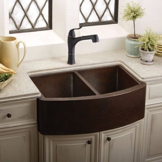"Kitchen Find Your Perfect Kitchen Farm Sinks For Kitchen: Hammered Copper Farmhouse Sink, 33"", Double Bowl, Elkay"