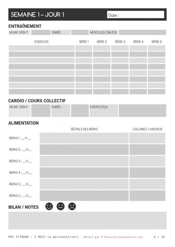 gratuit fitbook vierge imprimer en fran ais lafay pinterest musculation musculation. Black Bedroom Furniture Sets. Home Design Ideas