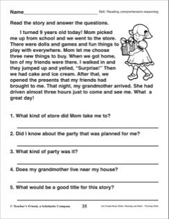 Reading Comprehension Reasoning 2nd Grade Reading Skills For