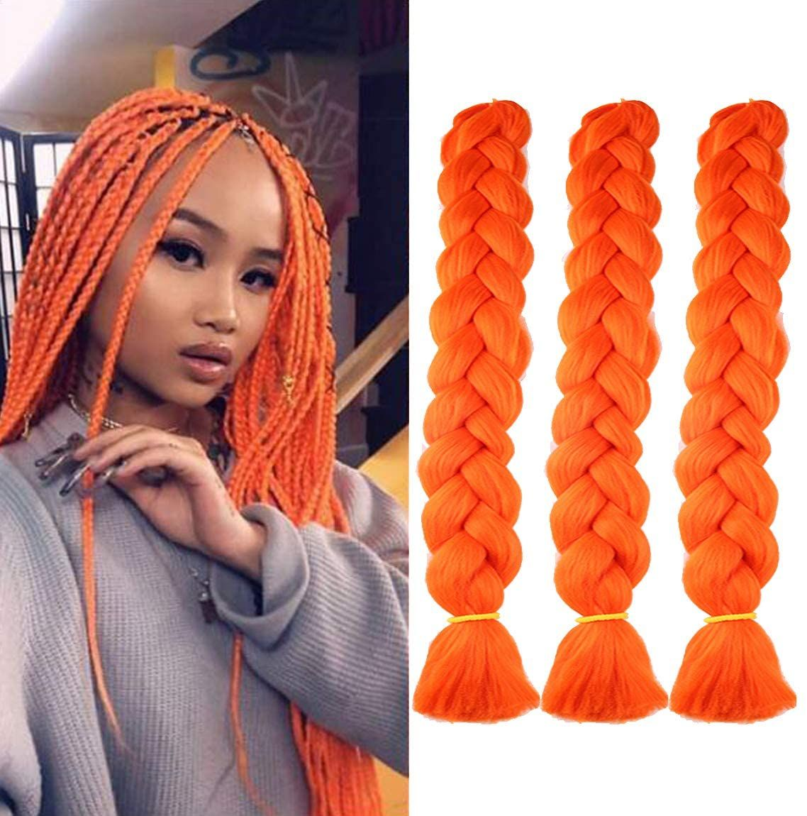 Orange Hair Extensions Trancas Cabelo Trança Box Braids