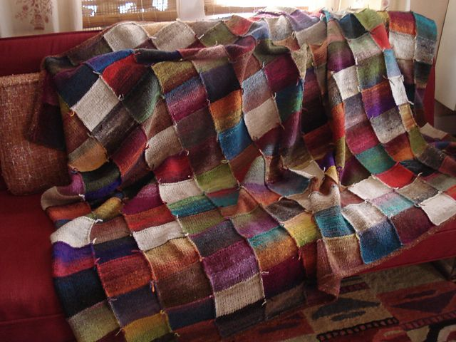 Beautiful Handknit Patchwork Style Blanket In Noro Kureyon Pattern