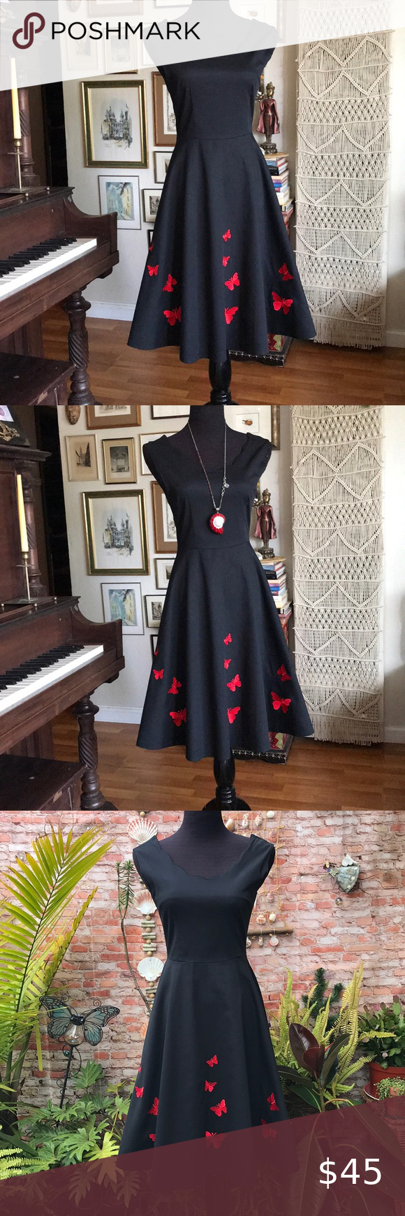 Little Black Dress With Embroidered Butterflies Little Black Dress Dresses Black Dress [ 1740 x 580 Pixel ]