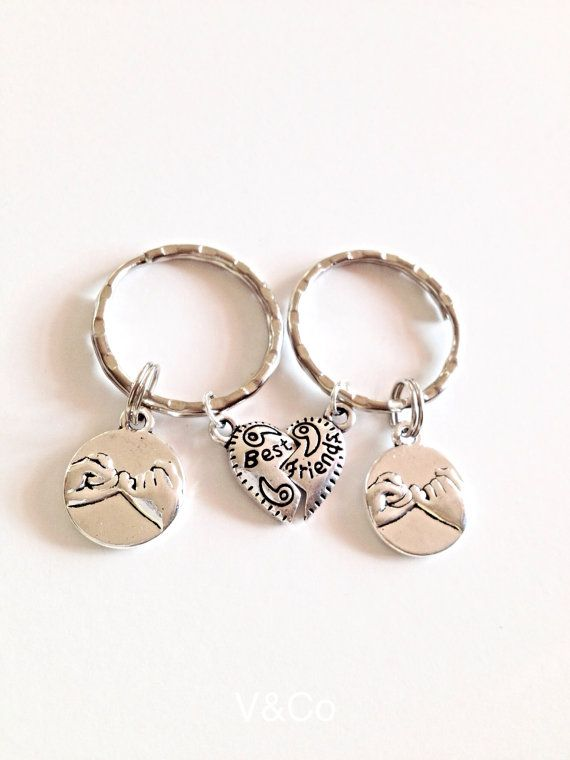 Couples Keychain Set Pinky Promise Necklace /& Keychain Set; Promise Gift