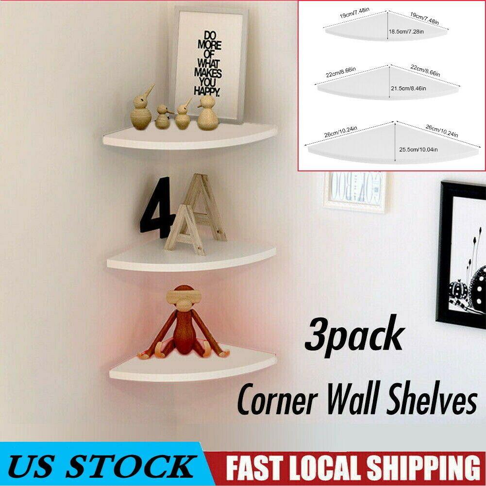 Details About 3pcs Corner Shelf Floating Wall Shelves Mount Storage Rack Display Home Decor Floating Shelves Shelves Floating Wall Shelves