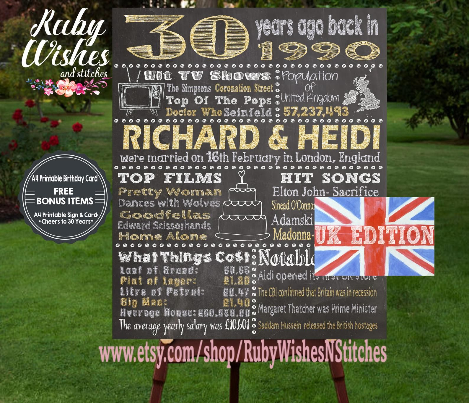 Personalised 30th Wedding Anniversary 1990 Chalkboard