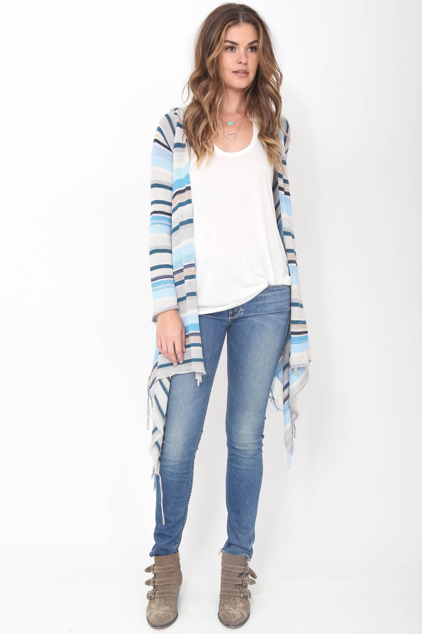 Goddis Linsey Hooded Wrap w/ fringe in Tranquility