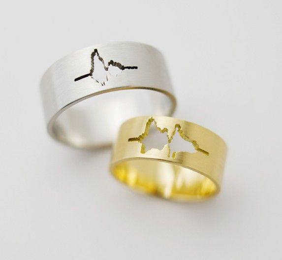 wedding bands with the sound wave form of the couples voices saying i do