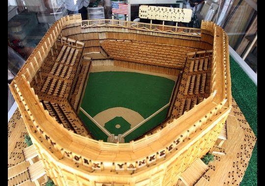 Bill Becker Built A Replica Of The Original Yankee Stadium 75 000 Matchsticks Strong Using Photographs Memory And A Stadium Toothpick Crafts Yankee Stadium