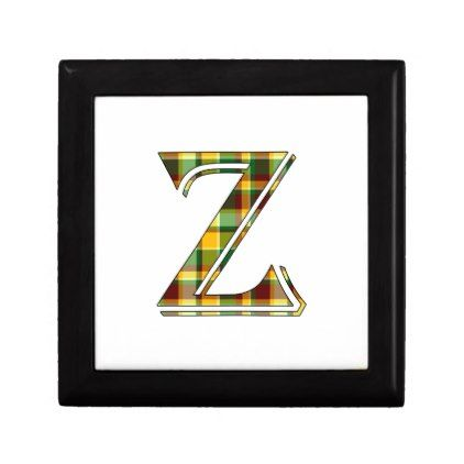 Z plaid initial jewelry box initial gift idea style unique special