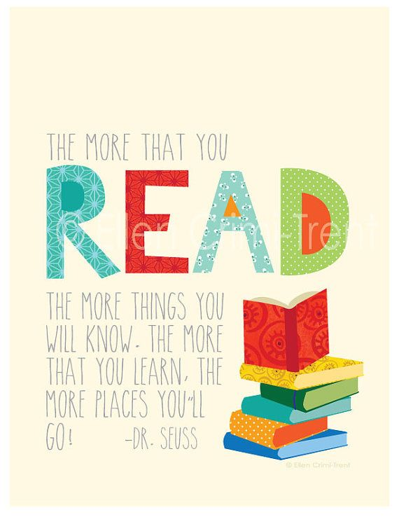 Dr Seuss The More You Read Kids Wall Artnursery Wall Art Adorable Reading Quotes For Kids