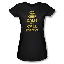 Keep Calm and Call Batman Juniors Black T-Shirt