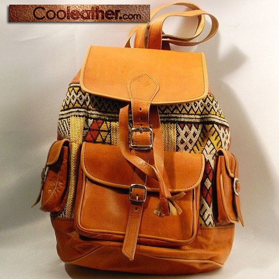 Tan Leather Backpack with a Creative Fabric Touch. Leather ...