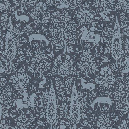 Sherwood Dark Blue Woodland Wallpaper in 2019 Pink