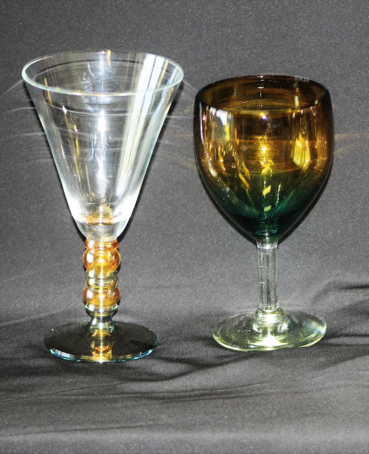 2 Vintage Hand Blown Art Glass Iridescent Wine Goblets, Beautiful Colors, Unique  Barware, Dining Accents, Cocktail Glasses