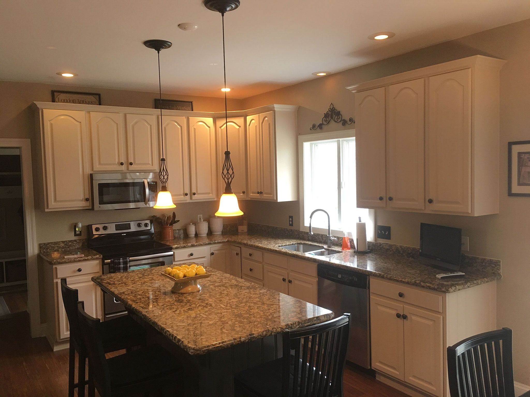 Buttercream Painted Cabinets With White Glaze Refinishing Cabinets Refinish Kitchen Cabinets Custom Kitchen Cabinets