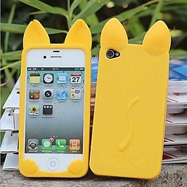 nuovo+gatto+3d+orecchie+silicone+custodia+morbida+per+iPhone+4/4S+(colori+assortiti)+–+EUR+€+3.79