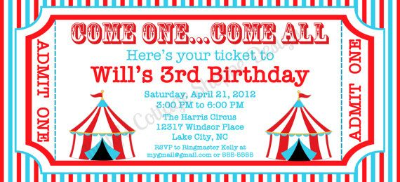 Circus Ticket Invitation Custom Printable Digital Birthday Invitation Carnival Invitation Template Circus Invitation Template Carnival Ticket Invitations