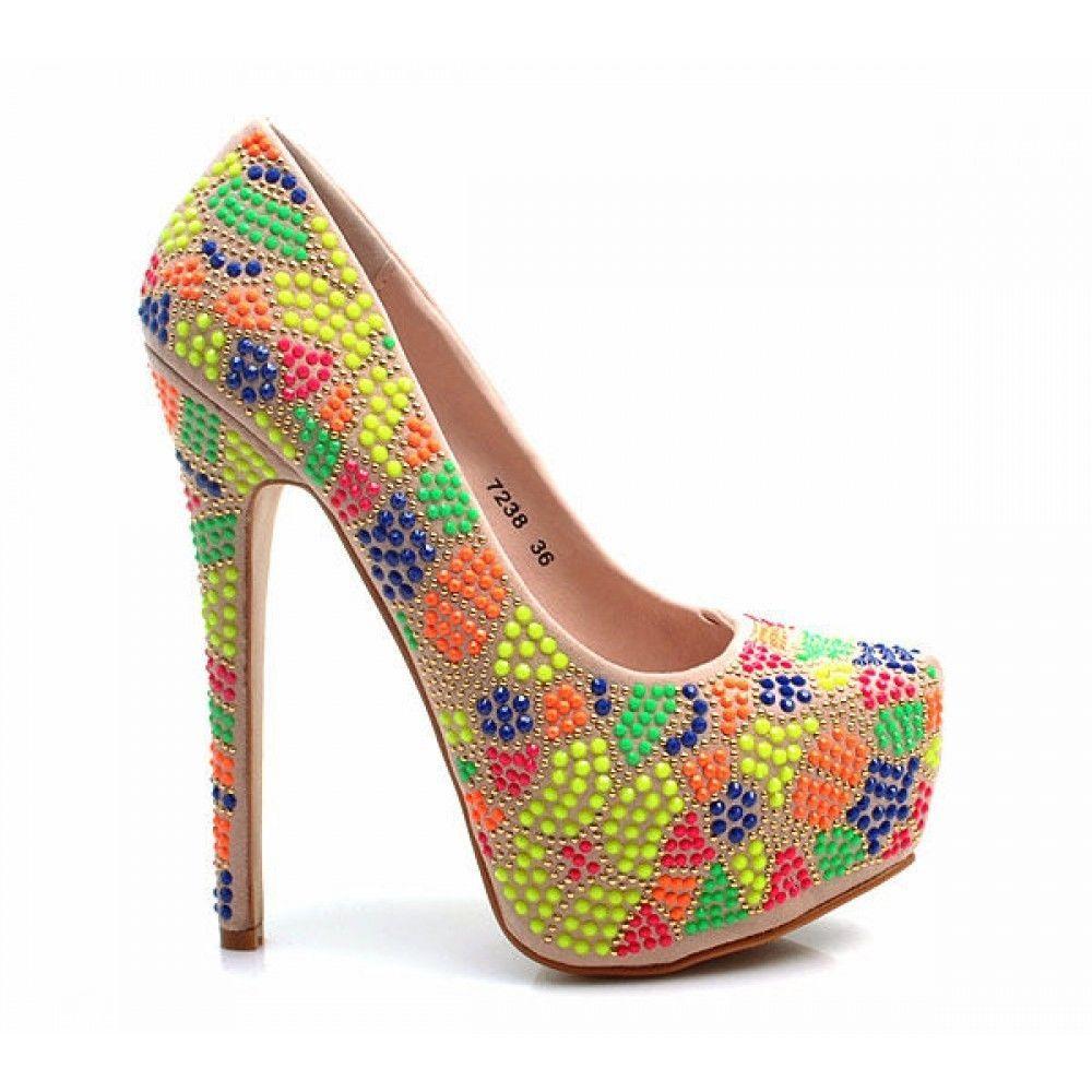 Ladies Platform High Heels Neon Diamante Rhinestone Crystal Beige Nude Summer