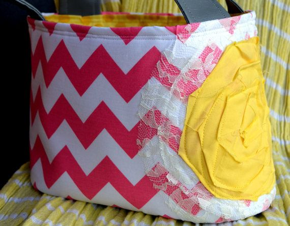 Pink Chevron Scripture Tote with Yellow by spicydesigns on Etsy, $30.00