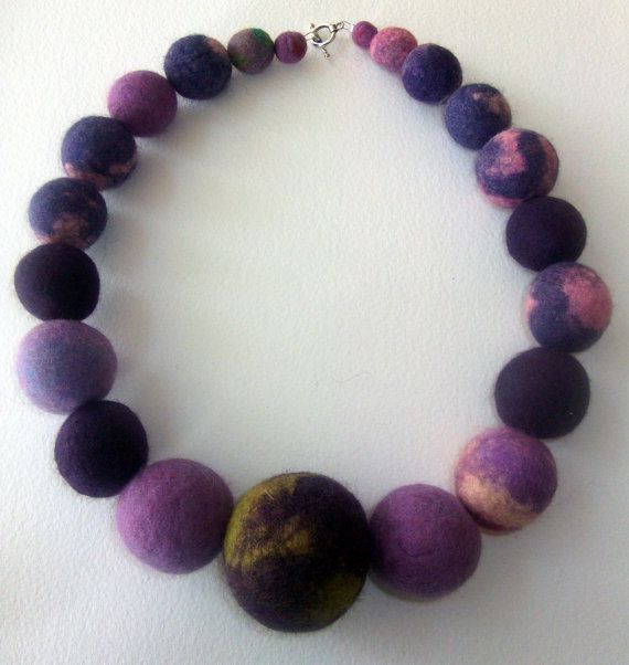 Purple chunky felt bead necklace