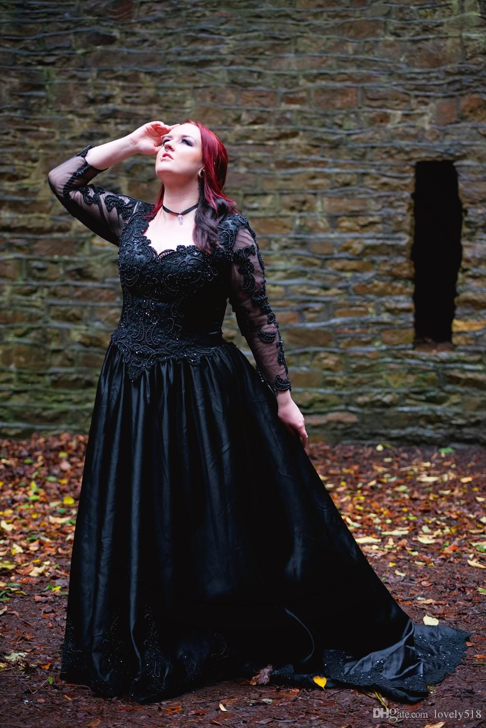 Plus Size Gothic Ball Gown Wedding Dresses Victorian Long