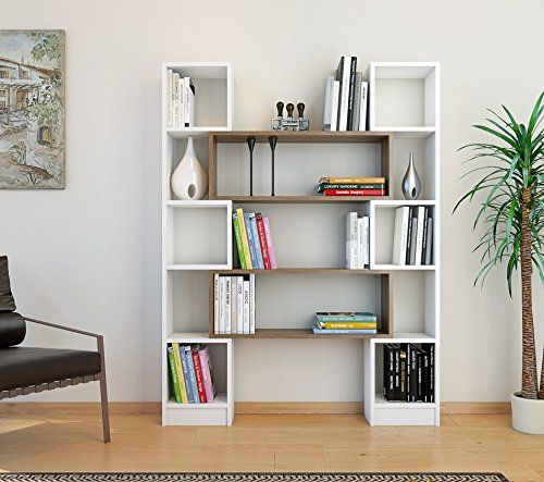 HOPE Libreria - Bianco / Noce - Scaffale per libri - Scaf ...